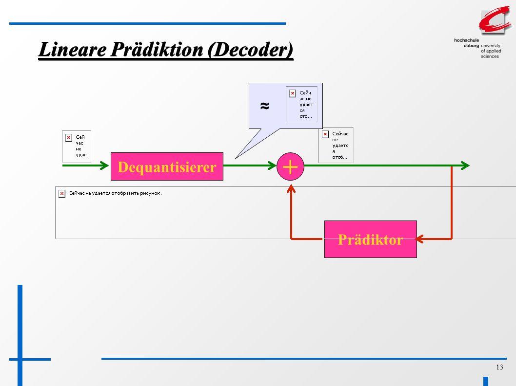 13 Lineare Prädiktion (Decoder) Dequantisierer + Prädiktor ≈