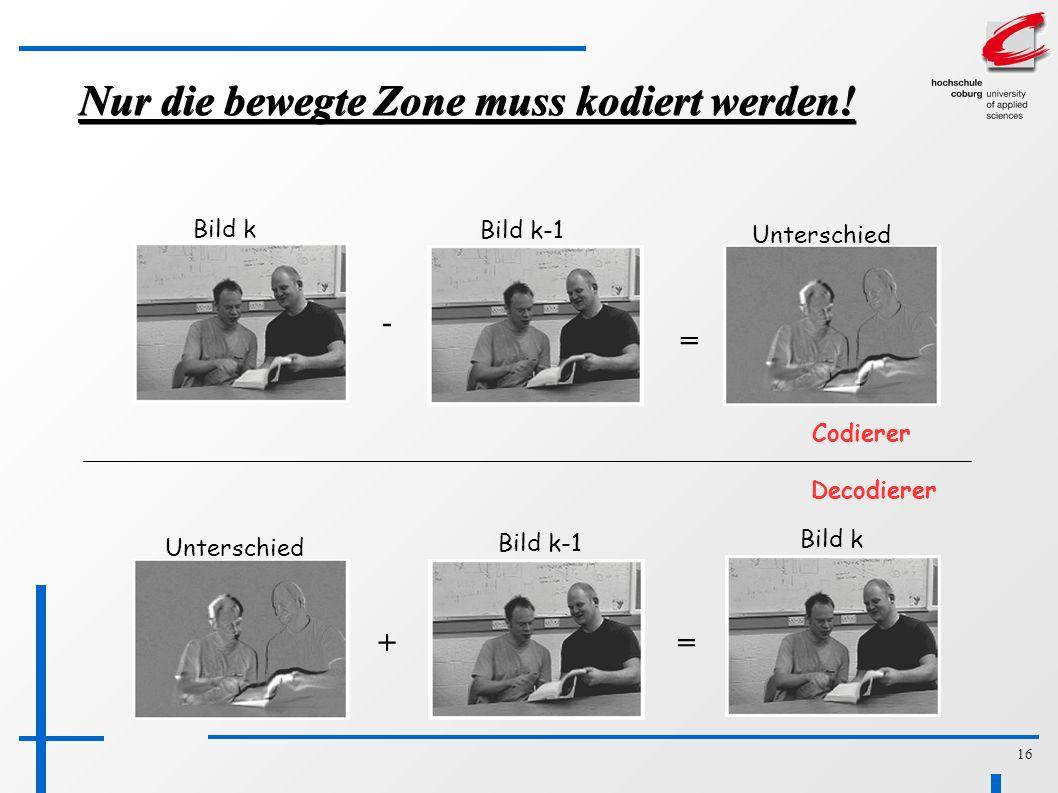 16 Nur die bewegte Zone muss kodiert werden.