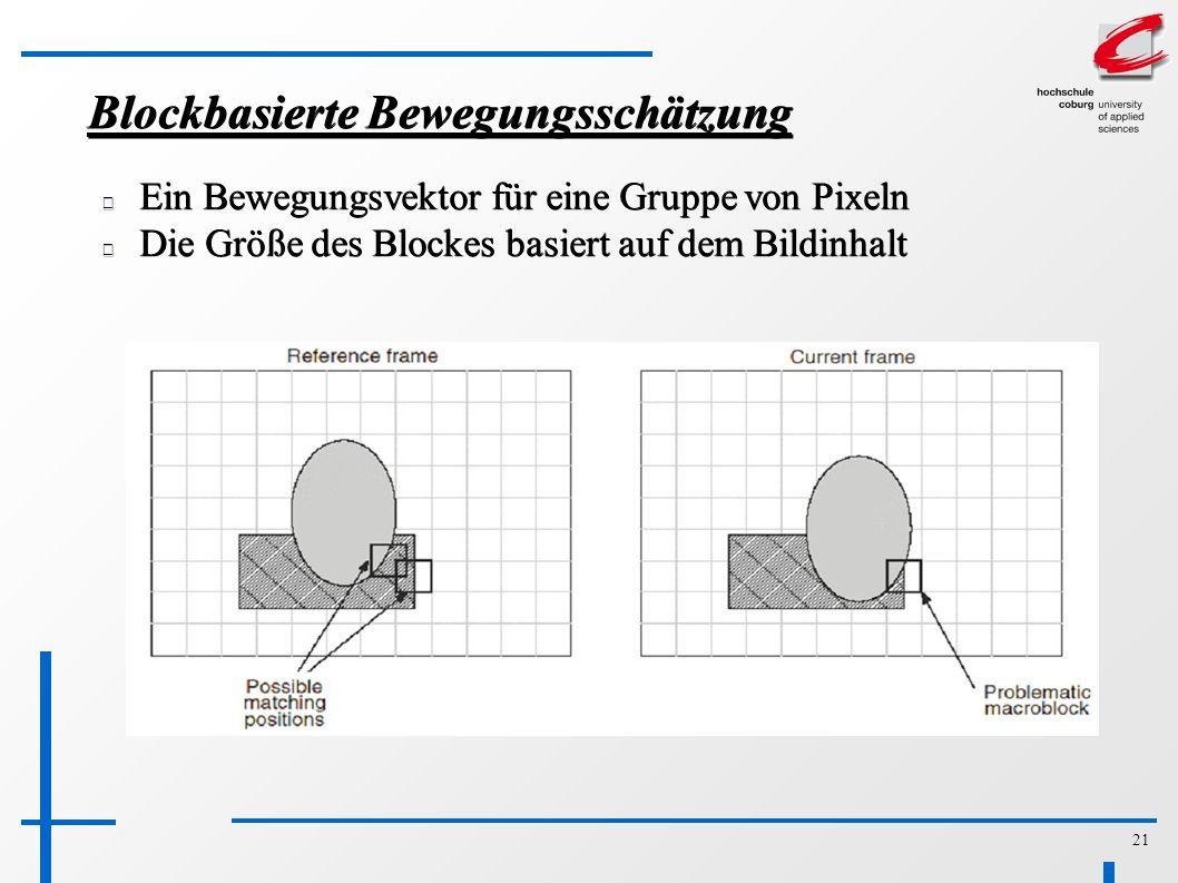 21 Blockbasierte Bewegungsschätzung Ein Bewegungsvektor für eine Gruppe von Pixeln Die Größe des Blockes basiert auf dem Bildinhalt