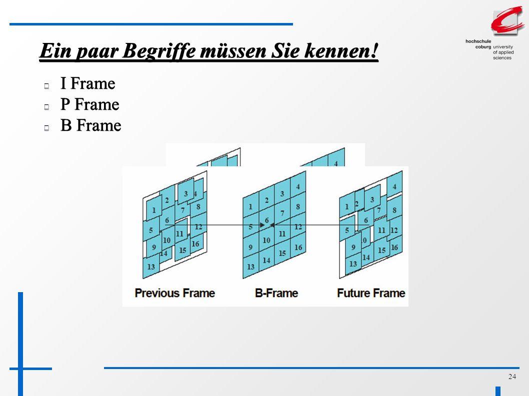 24 Ein paar Begriffe müssen Sie kennen! I Frame P Frame B Frame