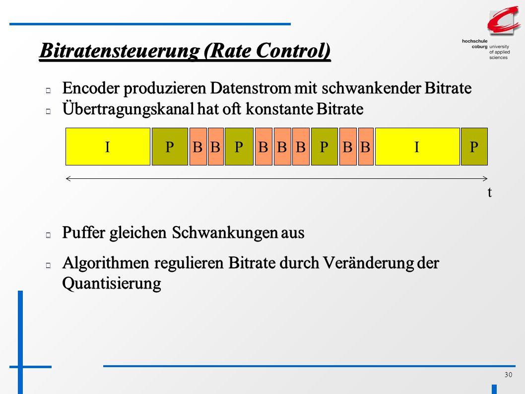 30 Bitratensteuerung (Rate Control) Encoder produzieren Datenstrom mit schwankender Bitrate Übertragungskanal hat oft konstante Bitrate IBBPBBPBPBBIP t Puffer gleichen Schwankungen aus Algorithmen regulieren Bitrate durch Veränderung der Quantisierung