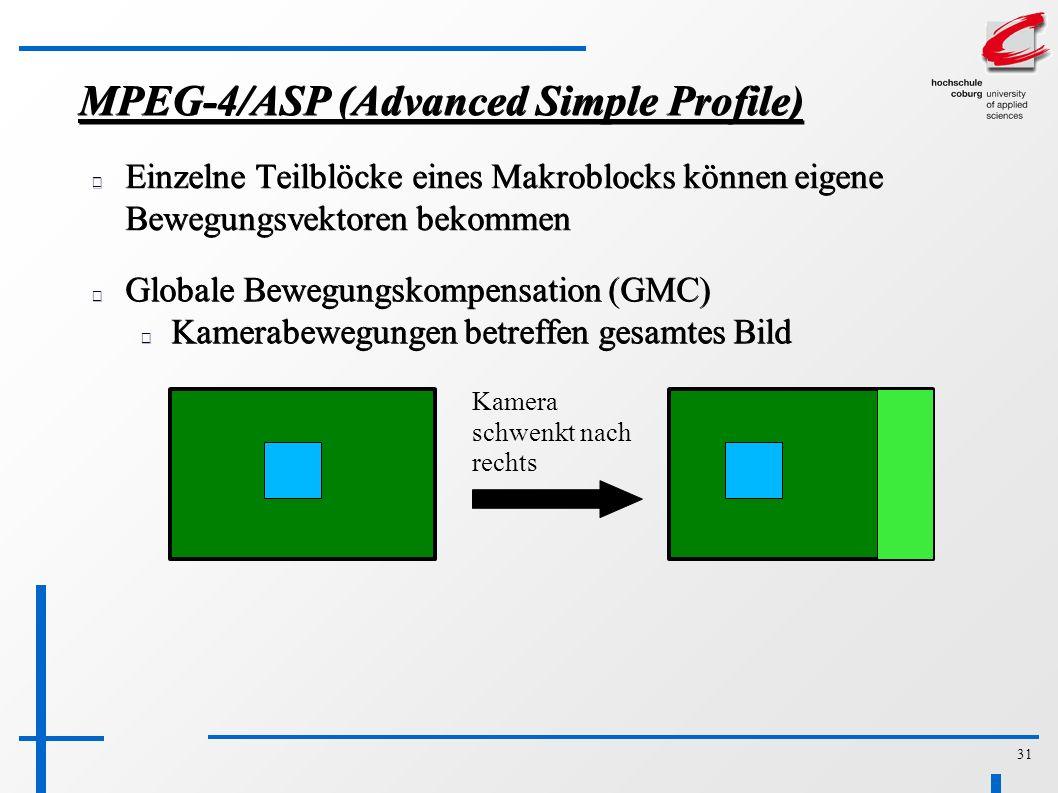 31 MPEG-4/ASP (Advanced Simple Profile) Einzelne Teilblöcke eines Makroblocks können eigene Bewegungsvektoren bekommen Globale Bewegungskompensation (GMC) Kamerabewegungen betreffen gesamtes Bild Kamera schwenkt nach rechts