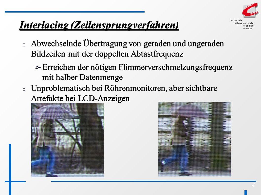 4 Interlacing (Zeilensprungverfahren) Abwechselnde Übertragung von geraden und ungeraden Bildzeilen mit der doppelten Abtastfrequenz ➢ Erreichen der nötigen Flimmerverschmelzungsfrequenz mit halber Datenmenge Unproblematisch bei Röhrenmonitoren, aber sichtbare Artefakte bei LCD-Anzeigen