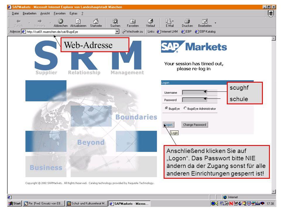 """GL 2.11-BK Web-Adresse scughf schule Anschließend klicken Sie auf """"Logon"""". Das Passwort bitte NIE ändern da der Zugang sonst für alle anderen Einricht"""