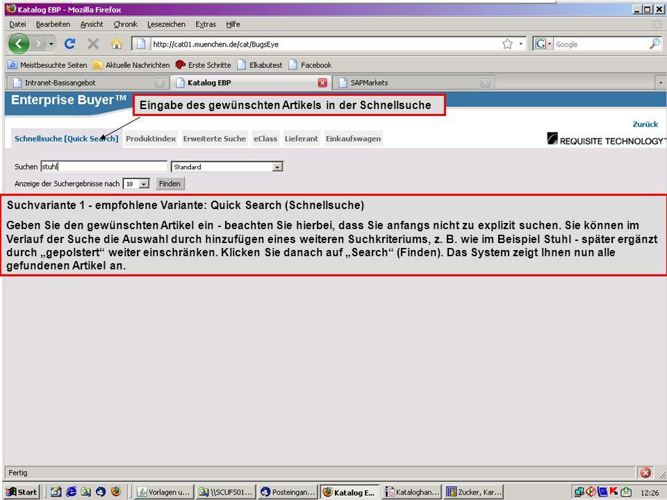GL 2.11-BK Suchvariante 1 - empfohlene Variante: Quick Search (Schnellsuche) Geben Sie den gewünschten Artikel ein - beachten Sie hierbei, dass Sie an