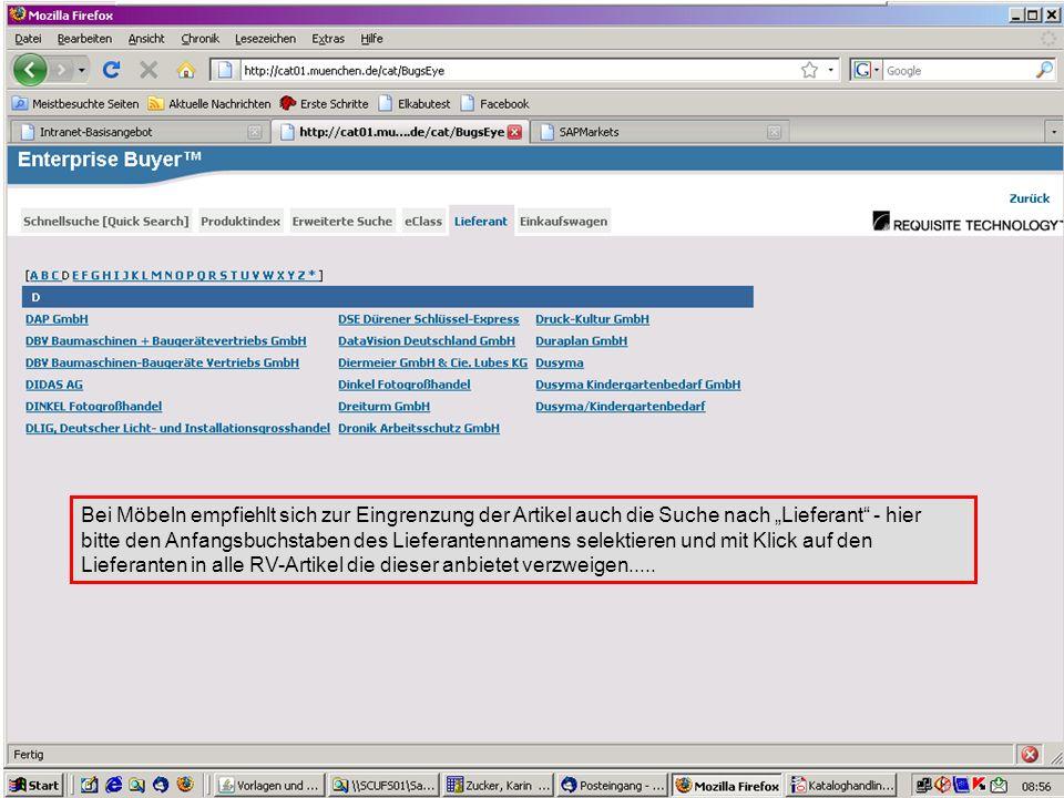 """GL 2.11-BK Bei Möbeln empfiehlt sich zur Eingrenzung der Artikel auch die Suche nach """"Lieferant - hier bitte den Anfangsbuchstaben des Lieferantennamens selektieren und mit Klick auf den Lieferanten in alle RV-Artikel die dieser anbietet verzweigen....."""