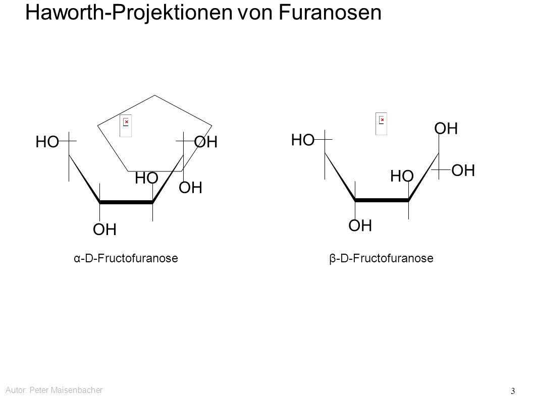 Autor: Peter Maisenbacher 3 OH HO OH HO β-D-Fructofuranose OH HO OH HO α-D-Fructofuranose Haworth-Projektionen von Furanosen