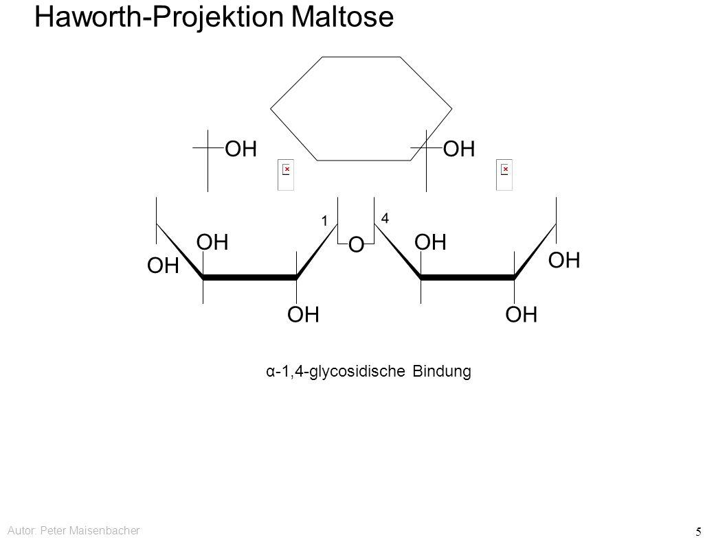 Autor: Peter Maisenbacher 5 Haworth-Projektion Maltose α-1,4-glycosidische Bindung OH O 4 1