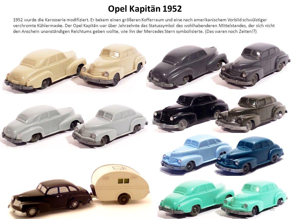 Opel Kapitän 1952 1952 wurde die Karosserie modifiziert.
