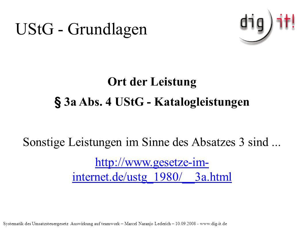 UStG - Grundlagen Ort der Leistung § 3a Abs.