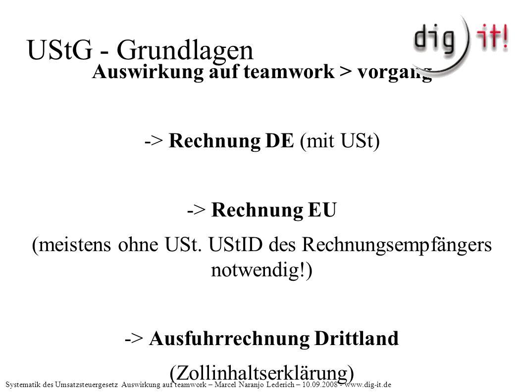 UStG - Grundlagen Auswirkung auf teamwork > vorgang -> Rechnung DE (mit USt) -> Rechnung EU (meistens ohne USt.