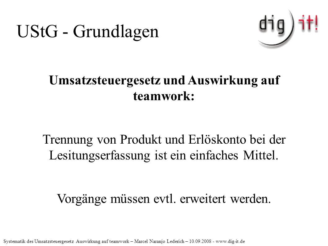 UStG - Grundlagen Umsatzsteuergesetz und Auswirkung auf teamwork: Trennung von Produkt und Erlöskonto bei der Lesitungserfassung ist ein einfaches Mittel.