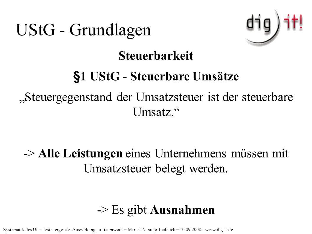 """UStG - Grundlagen Steuerbarkeit §1 UStG - Steuerbare Umsätze """"Steuergegenstand der Umsatzsteuer ist der steuerbare Umsatz. -> Alle Leistungen eines Unternehmens müssen mit Umsatzsteuer belegt werden."""