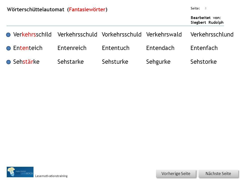 Übungsart: Seite: Bearbeitet von: Siegbert Rudolph Lesemotivationstraining Wörterschüttelautomat (Fantasiewörter) 8 VerkehrsschildVerkehrsschuldVorkeh