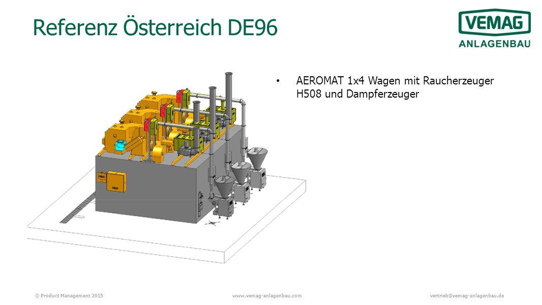 © Product Management 2015www.vemag-anlagenbau.comvertrieb@vemag-anlagenbau.de Referenz Österreich DE96 AEROMAT 1x4 Wagen mit Raucherzeuger H508 und Dampferzeuger