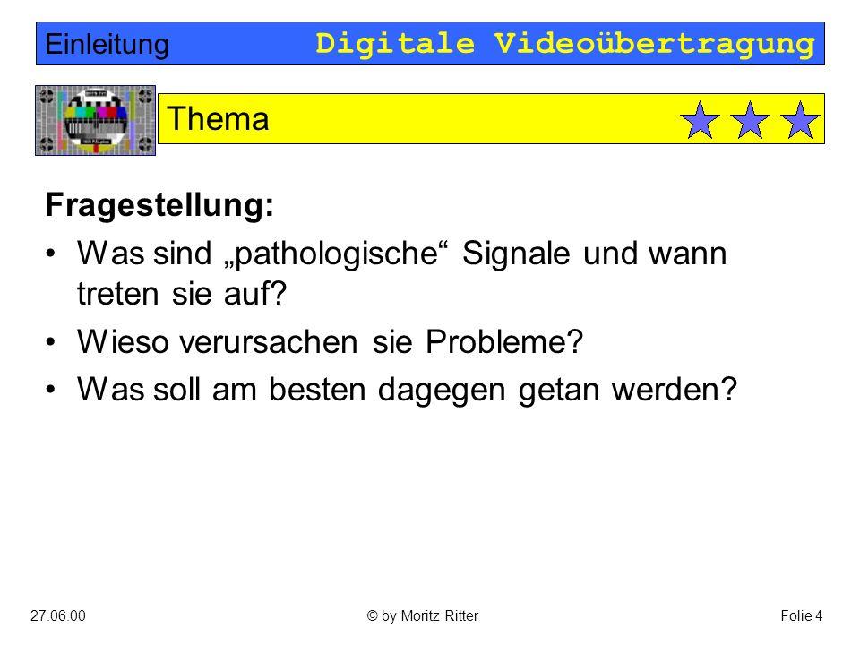 "Digitale Videoübertragung 27.06.00Folie 5© by Moritz Ritter Digitale Videosignale sind ""gesamplete analoge Signale: Hauptteil Digitale Videosignale Europäisches BAS-Signal"