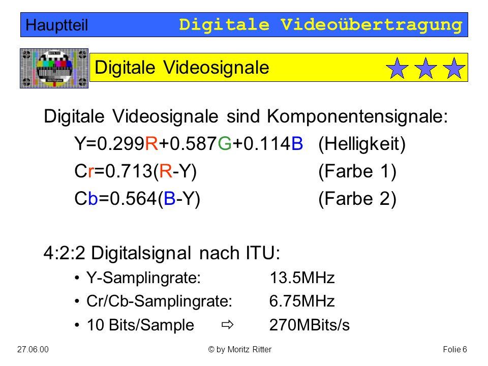 Digitale Videoübertragung 27.06.00Folie 6© by Moritz Ritter Digitale Videosignale sind Komponentensignale: Y=0.299R+0.587G+0.114B(Helligkeit) Cr=0.713(R-Y)(Farbe 1) Cb=0.564(B-Y)(Farbe 2) 4:2:2 Digitalsignal nach ITU: Y-Samplingrate:13.5MHz Cr/Cb-Samplingrate:6.75MHz 10 Bits/Sample  270MBits/s Hauptteil Digitale Videosignale