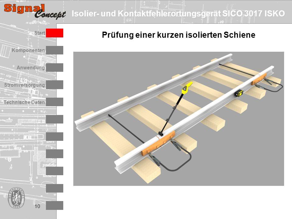 Isolier- und Kontaktfehlerortungsgerät SICO 3017 ISKO Stromversorgung Technische Daten Start Anwendung Komponenten 10 Prüfung einer kurzen isolierten Schiene