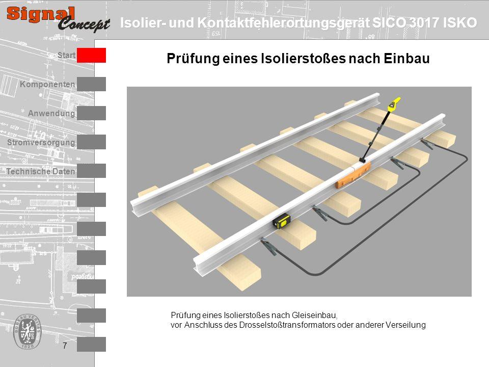 Isolier- und Kontaktfehlerortungsgerät SICO 3017 ISKO Stromversorgung Technische Daten Start Anwendung Komponenten 7 Prüfung eines Isolierstoßes nach