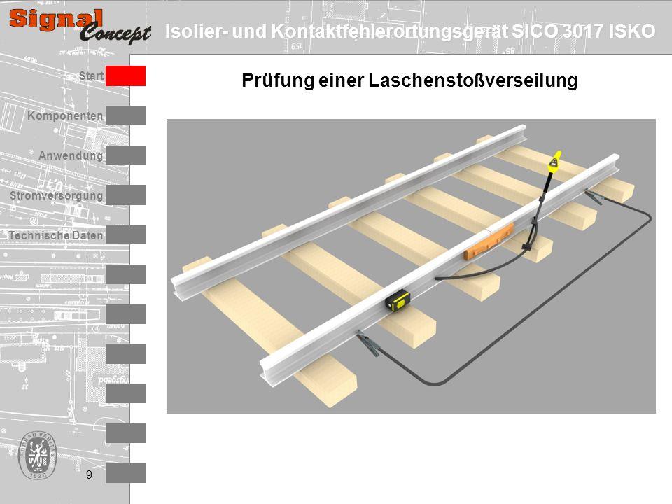 Isolier- und Kontaktfehlerortungsgerät SICO 3017 ISKO Stromversorgung Technische Daten Start Anwendung Komponenten 9 Prüfung einer Laschenstoßverseilu