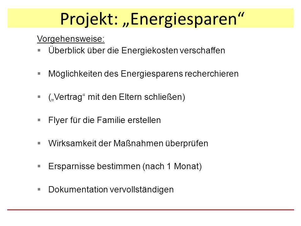 """Projekt: """"Energiesparen Vorgehensweise:  Überblick über die Energiekosten verschaffen  Möglichkeiten des Energiesparens recherchieren  (""""Vertrag mit den Eltern schließen)  Flyer für die Familie erstellen  Wirksamkeit der Maßnahmen überprüfen  Ersparnisse bestimmen (nach 1 Monat)  Dokumentation vervollständigen"""