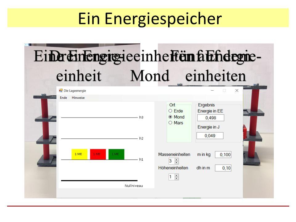 Ein Energiespeicher Eine Energie- einheit Fünf Energie- einheiten Drei Energieeinheiten auf dem Mond