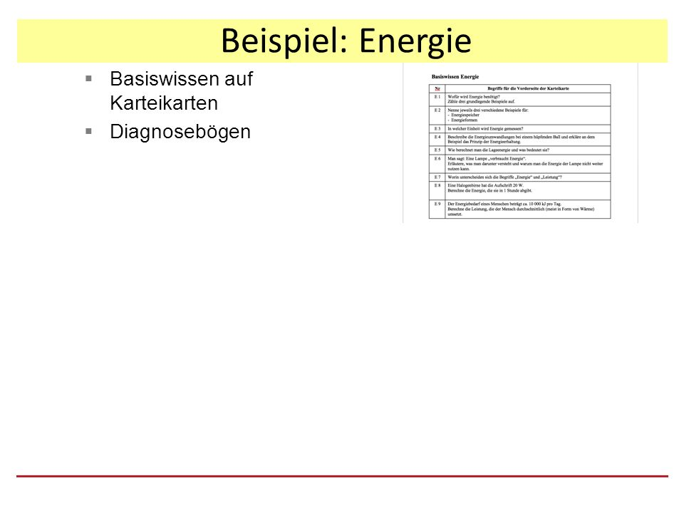 Beispiel: Energie  Basiswissen auf Karteikarten  Diagnosebögen