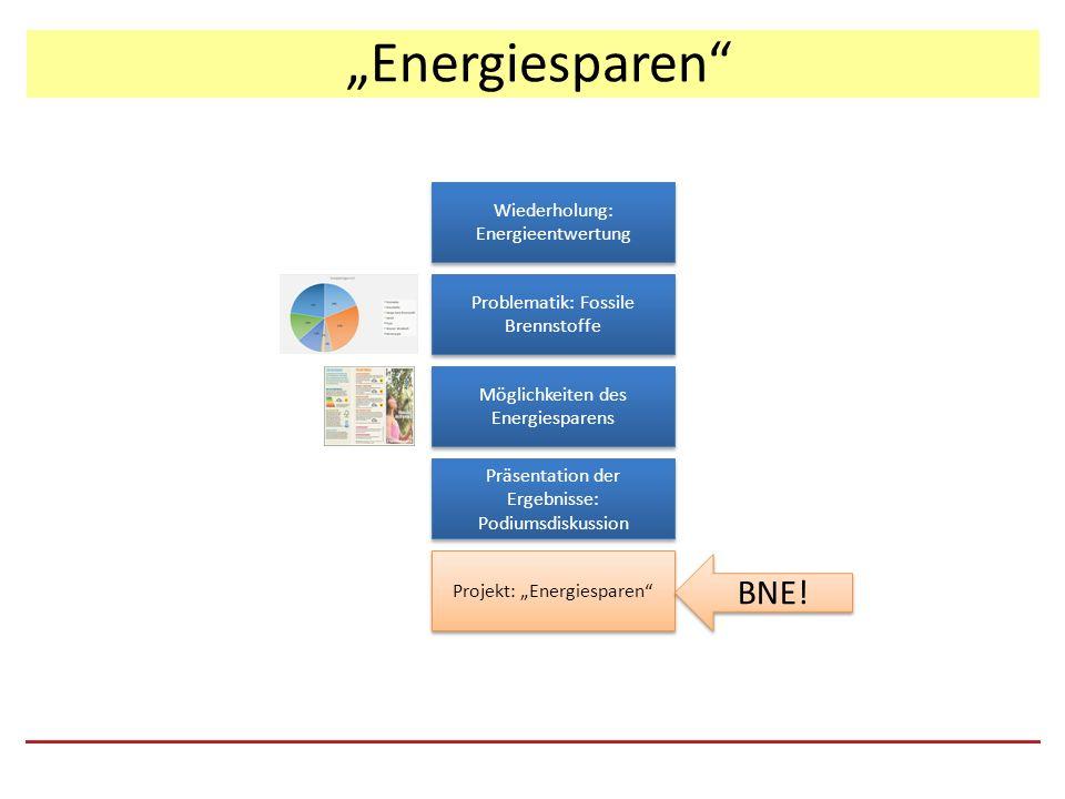 """""""Energiesparen Präsentation der Ergebnisse: Podiumsdiskussion Problematik: Fossile Brennstoffe Wiederholung: Energieentwertung Möglichkeiten des Energiesparens Projekt: """"Energiesparen BNE!"""