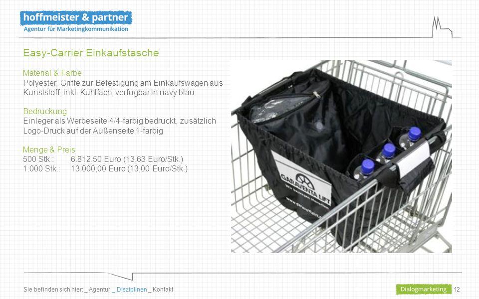 12 Easy-Carrier Einkaufstasche Material & Farbe Polyester, Griffe zur Befestigung am Einkaufswagen aus Kunststoff, inkl.