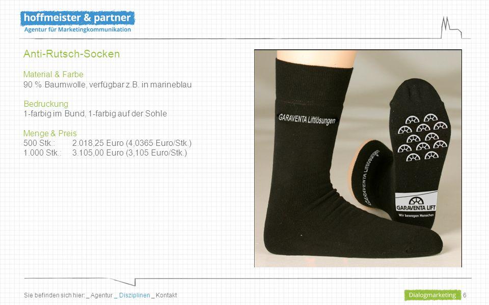 6 Anti-Rutsch-Socken Material & Farbe 90 % Baumwolle, verfügbar z.B. in marineblau Bedruckung 1-farbig im Bund, 1-farbig auf der Sohle Menge & Preis 5