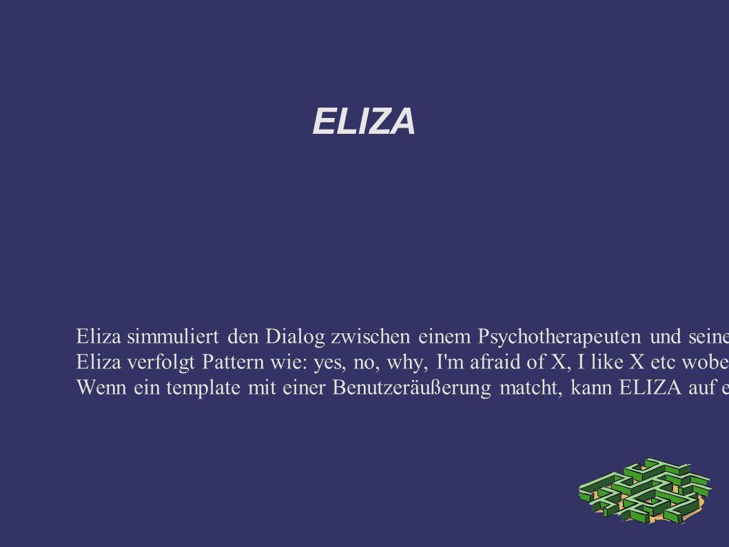 ELIZA Eliza simmuliert den Dialog zwischen einem Psychotherapeuten und seinem/ihrem Patienten (Weizenbaum 1966).