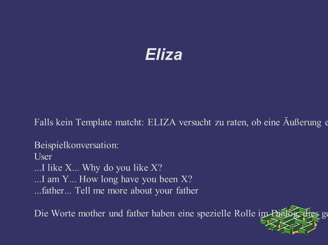 Eliza Falls kein Template matcht: ELIZA versucht zu raten, ob eine Äußerung ein Statement, eine Negation oder eine Frage ist.