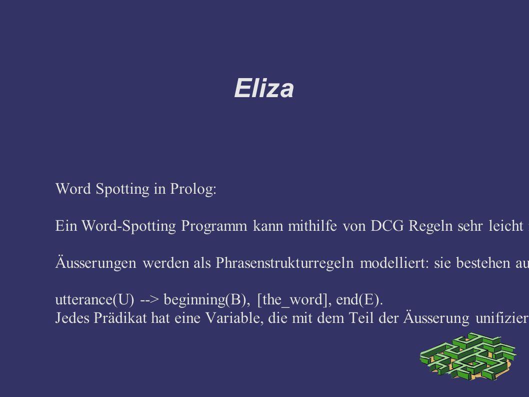 Eliza Word Spotting in Prolog: Ein Word-Spotting Programm kann mithilfe von DCG Regeln sehr leicht in Prolog geschrieben werden.