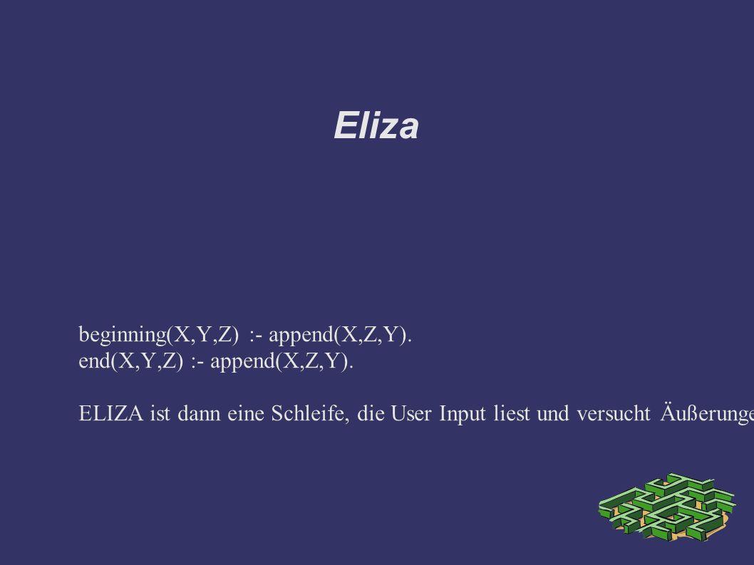 Eliza beginning(X,Y,Z) :- append(X,Z,Y). end(X,Y,Z) :- append(X,Z,Y).