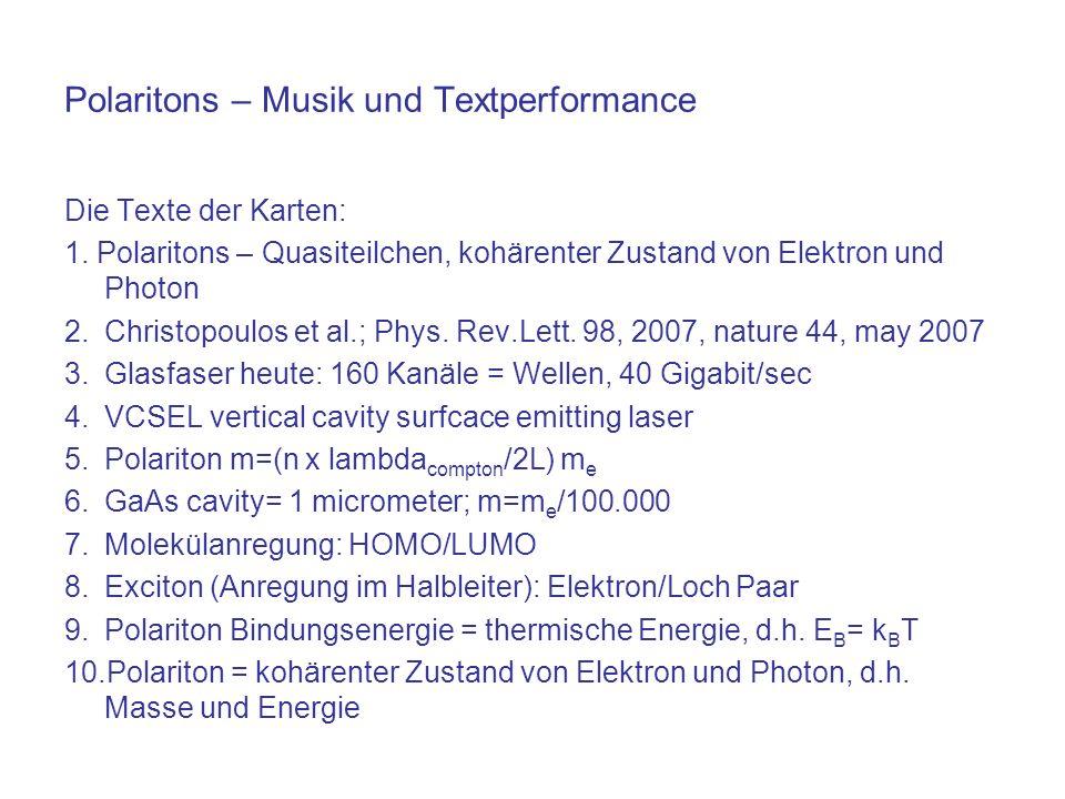 Polaritons – Musik und Textperformance Die Texte der Karten: 1. Polaritons – Quasiteilchen, kohärenter Zustand von Elektron und Photon 2.Christopoulos