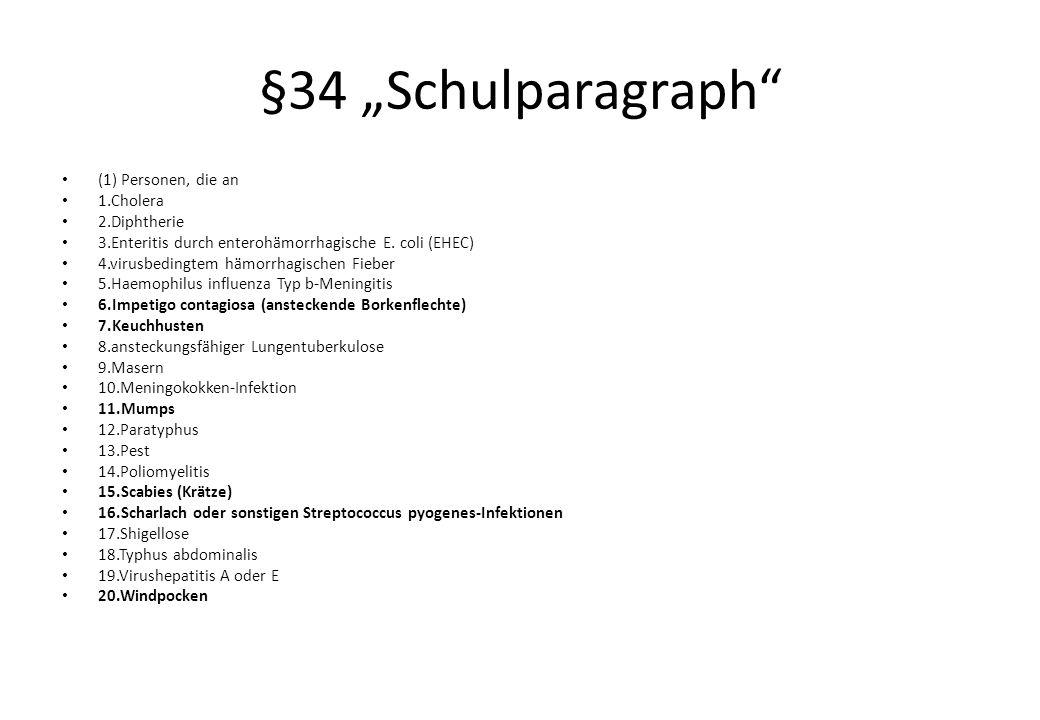 "§34 ""Schulparagraph (1) Personen, die an 1.Cholera 2.Diphtherie 3.Enteritis durch enterohämorrhagische E."