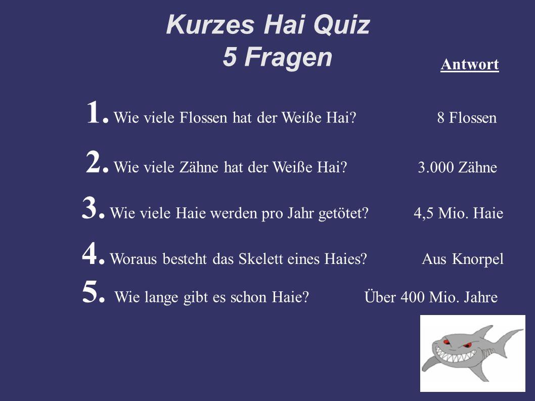 Kurzes Hai Quiz 5 Fragen 1. Wie viele Flossen hat der Weiße Hai? 8 Flossen Antwort 2. Wie viele Zähne hat der Weiße Hai? 3.000 Zähne 3. Wie viele Haie