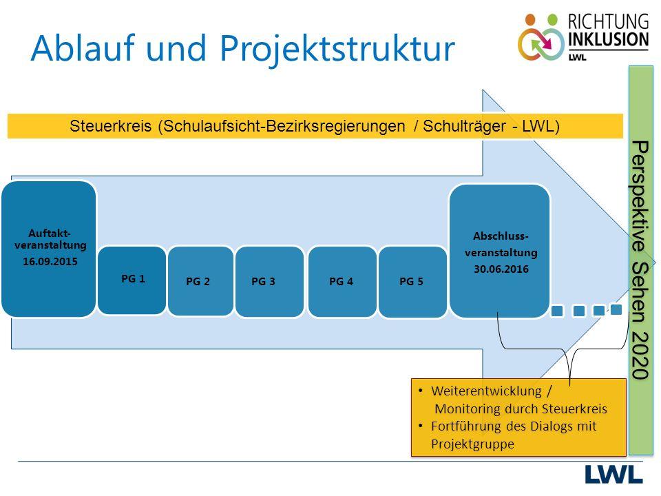 Ablauf und Projektstruktur PG 1 PG 2PG 3PG 4PG 5 Auftakt- veranstaltung 16.09.2015 Abschluss- veranstaltung 30.06.2016 Perspektive Sehen 2020 Steuerkreis (Schulaufsicht-Bezirksregierungen / Schulträger - LWL) Weiterentwicklung / Monitoring durch Steuerkreis Fortführung des Dialogs mit Projektgruppe Weiterentwicklung / Monitoring durch Steuerkreis Fortführung des Dialogs mit Projektgruppe