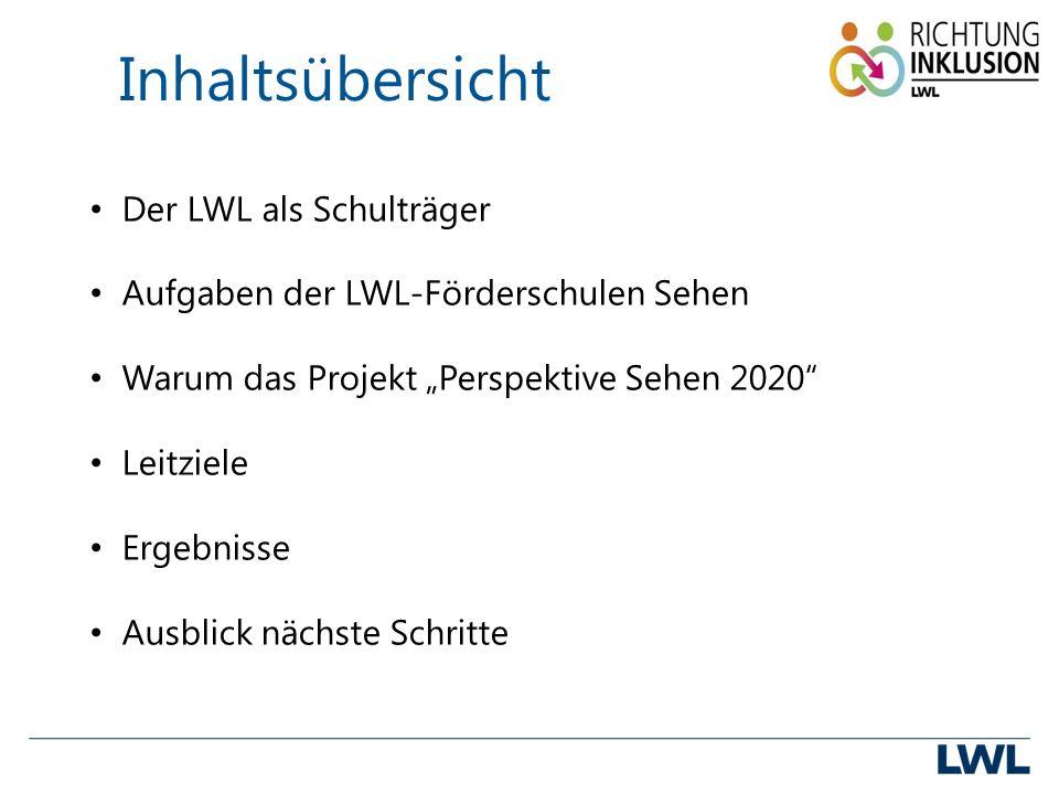 """Inhaltsübersicht Der LWL als Schulträger Aufgaben der LWL-Förderschulen Sehen Warum das Projekt """"Perspektive Sehen 2020 Leitziele Ergebnisse Ausblick nächste Schritte"""
