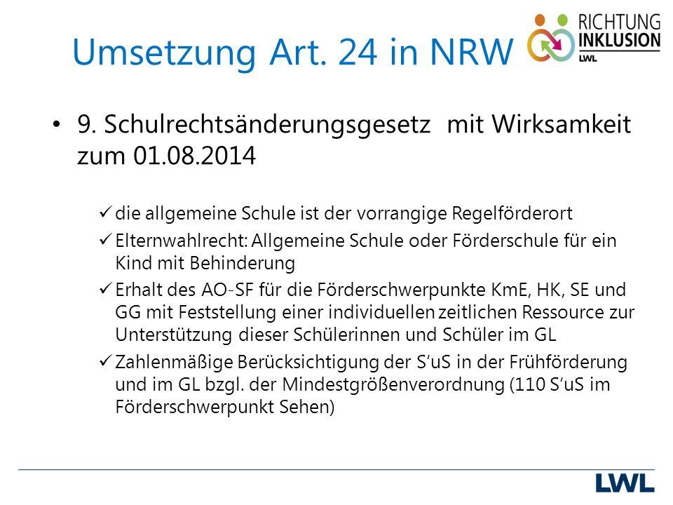 Umsetzung Art. 24 in NRW 9.