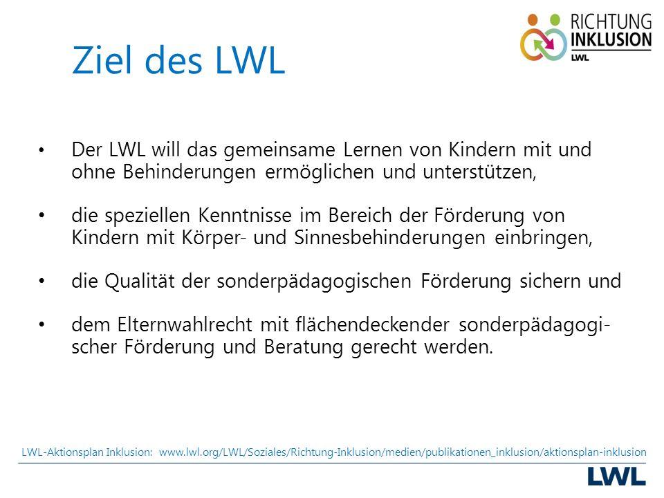 Ziel des LWL Der LWL will das gemeinsame Lernen von Kindern mit und ohne Behinderungen ermöglichen und unterstützen, die speziellen Kenntnisse im Bereich der Förderung von Kindern mit Körper- und Sinnesbehinderungen einbringen, die Qualität der sonderpädagogischen Förderung sichern und dem Elternwahlrecht mit flächendeckender sonderpädagogi- scher Förderung und Beratung gerecht werden.