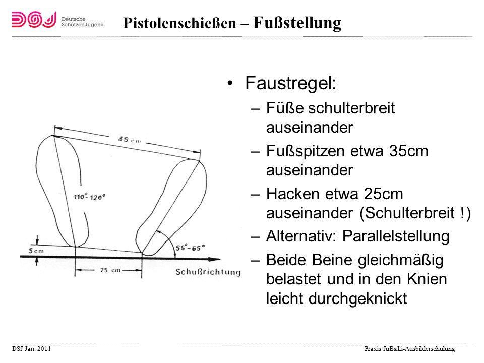 DSJ Jan. 2011 Praxis JuBaLi-Ausbilderschulung Pistolenschießen – Fußstellung Faustregel: –Füße schulterbreit auseinander –Fußspitzen etwa 35cm auseina