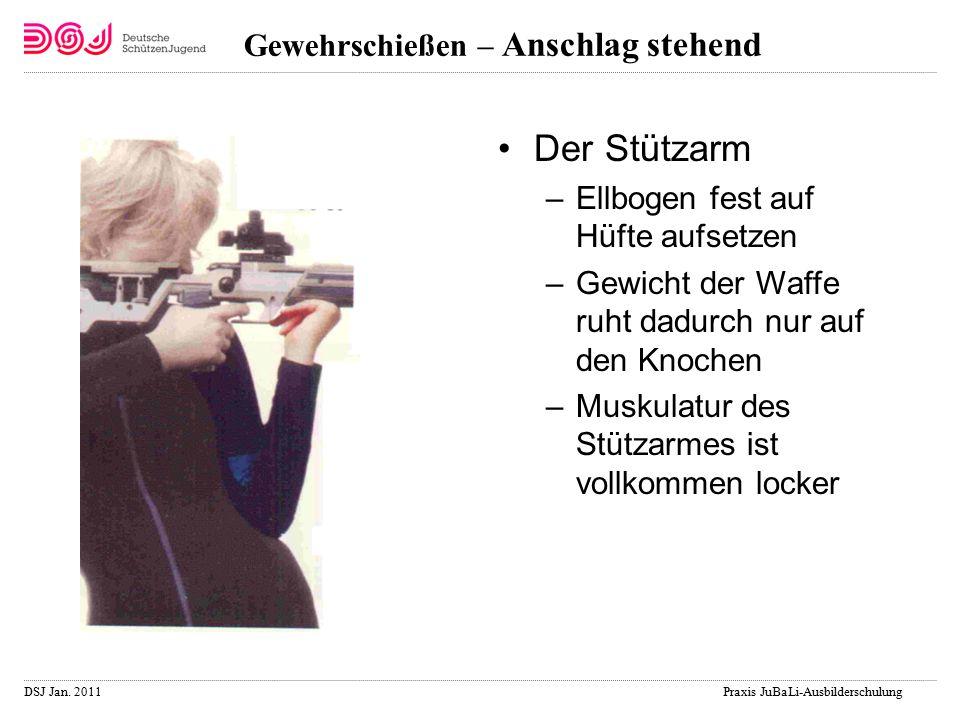 DSJ Jan. 2011 Praxis JuBaLi-Ausbilderschulung Gewehrschießen – Anschlag stehend Der Stützarm –Ellbogen fest auf Hüfte aufsetzen –Gewicht der Waffe ruh