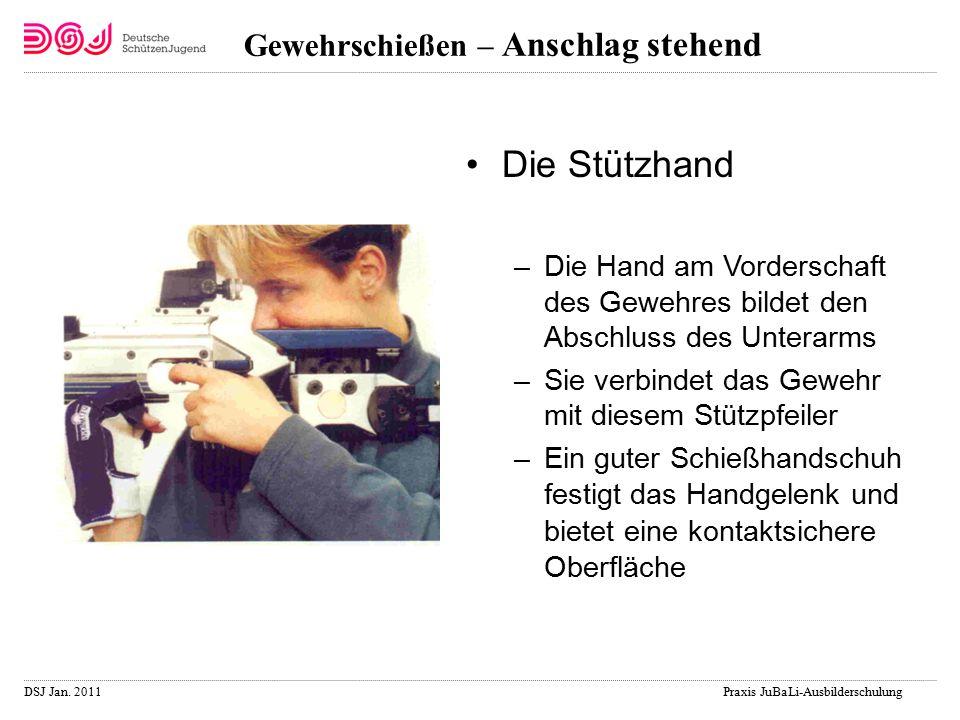 DSJ Jan. 2011 Praxis JuBaLi-Ausbilderschulung Gewehrschießen – Anschlag stehend Die Stützhand –Die Hand am Vorderschaft des Gewehres bildet den Abschl