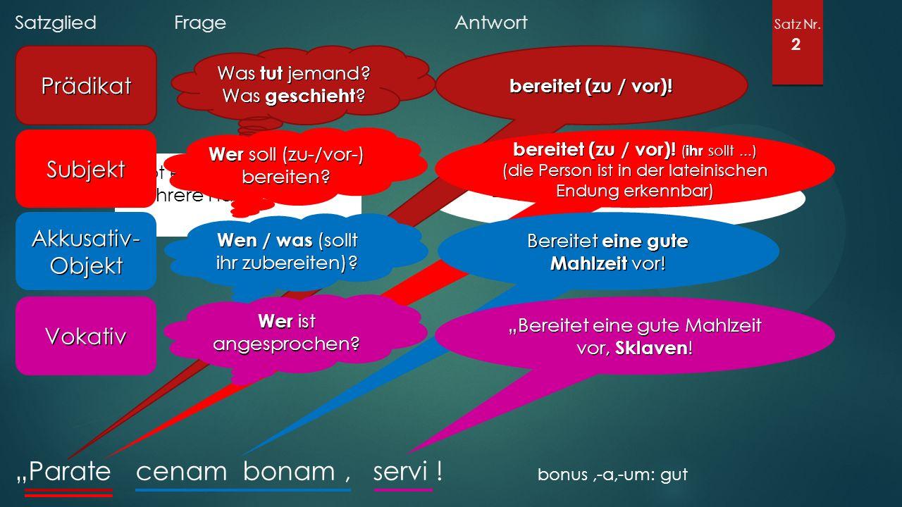 """Satzglied Frage Antwort Satz Nr. 2 """"Parate cenam bonam, servi ."""