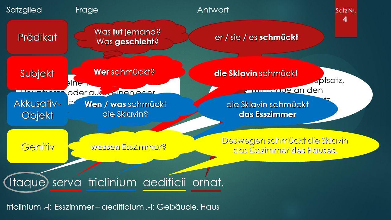 Satzglied Frage Antwort Satz Nr. 4 Itaque serva triclinium aedificii ornat.
