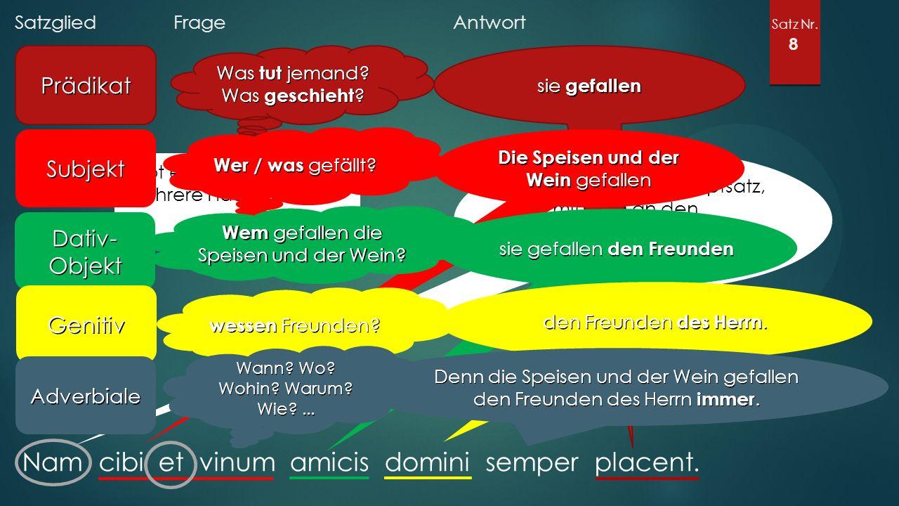 Satzglied Frage Antwort Satz Nr. 8 Nam cibi et vinum amicis domini semper placent.