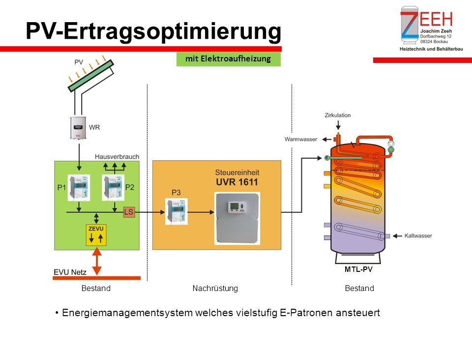 PV-Ertragsoptimierung Bestand Nachrüstung MTL-PV Energiemanagementsystem welches vielstufig E-Patronen ansteuert mit Elektroaufheizung