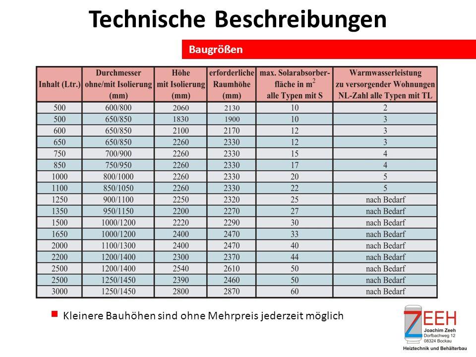 Baugrößen Technische Beschreibungen Kleinere Bauhöhen sind ohne Mehrpreis jederzeit möglich
