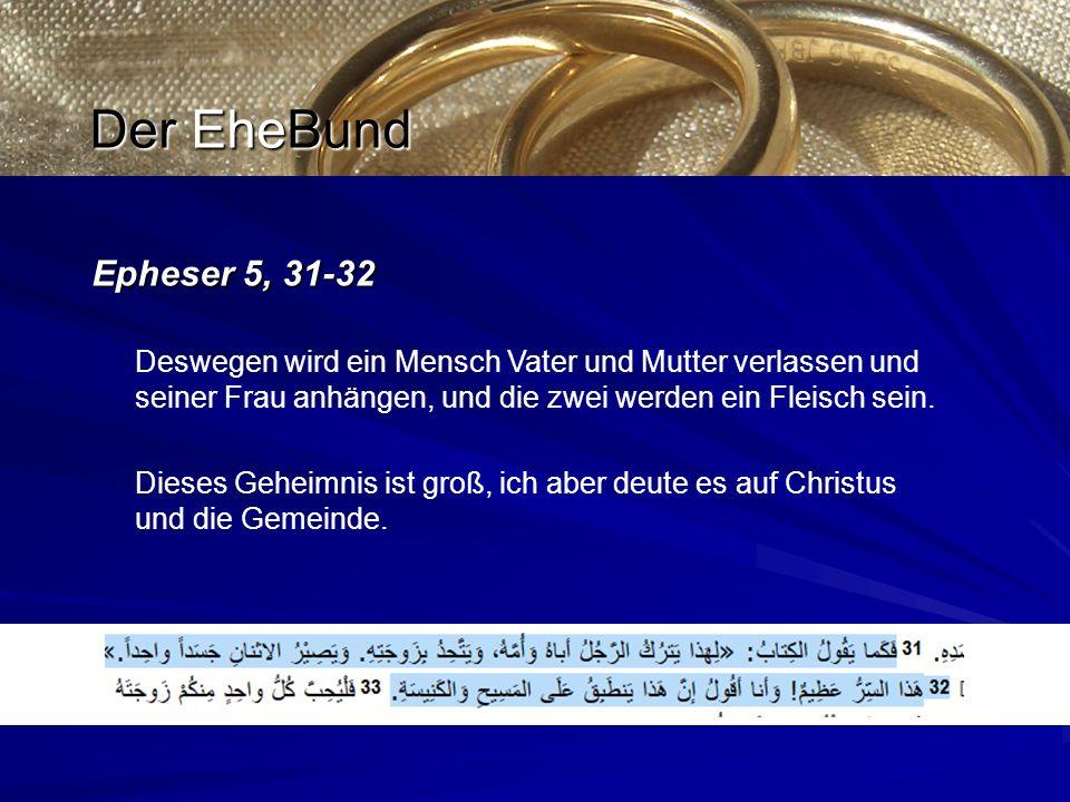 Epheser 5, 31-32 Deswegen wird ein Mensch Vater und Mutter verlassen und seiner Frau anhängen, und die zwei werden ein Fleisch sein.